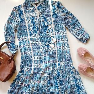 KAKTUS blue ikat print crochet ruffle shift dress